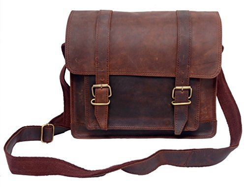 FeatherTouch Leather Bag Messenger Satchel Crossbody Shoulder Bag Women Travel Bag Ipad Case Mini Messenger Bag 12X9X3.5 Inches Brown by FeatherTouch