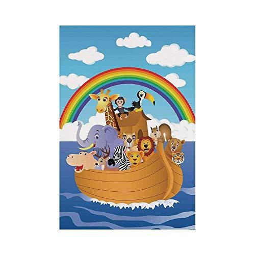 Polyester Garden Flag Outdoor Flag House Flag Banner,Noahs Ark,Cartoon Style Group of Animals in Noahs Ark Childish Cheering Design Artwork,Multicolor,for Wedding Anniversary Home Outdoor Garden - Cheering Style Flag