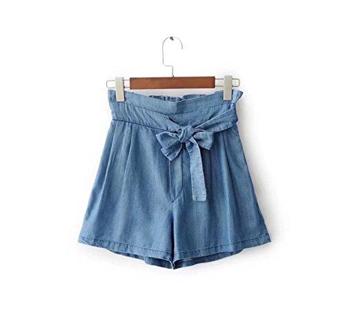 Ceinture Taille Grande Dark blue Shorts Jeans Femme Oudan Chic avec en Amincissant Elastique Xwq1gUvTx