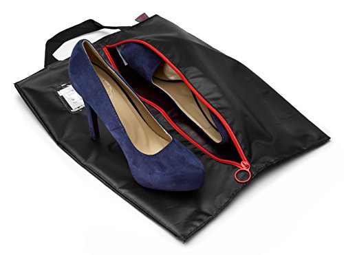 Tuff Guy Travel Shoe Bags 16''x12'', Made of Strong Water Proof Ballistic Nylon (Black) (4-Pack) Nylon Shoe Tote Bags with Heavy Duty Zipper. Men and Women. by Tuff Guy (Image #6)