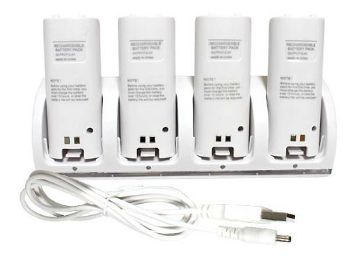 New Charger Dock + 4 x Battery for Nintendo Wii Remote