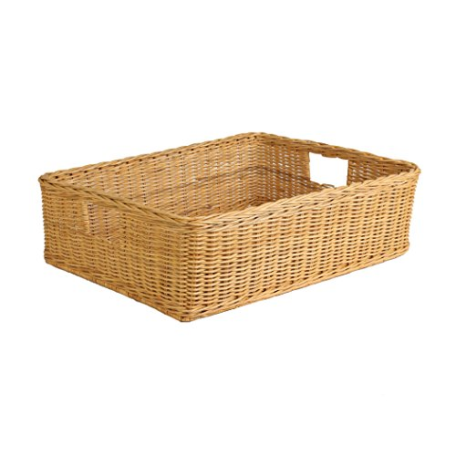 The Basket Lady Under the Bed/Basic Wicker Storage Basket, XL, Toasted Oat
