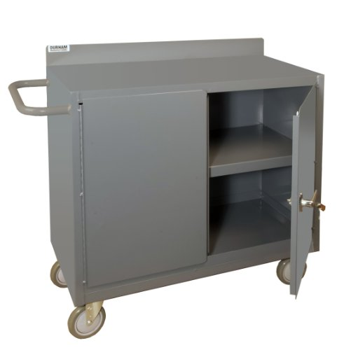 Durham 16 Gauge Welded Steel Mobile Cabinet with Lockable Storage Compartment, 2220-95, 1200 lbs Capacity, 1 Shelf (Picking Trucks Stock)