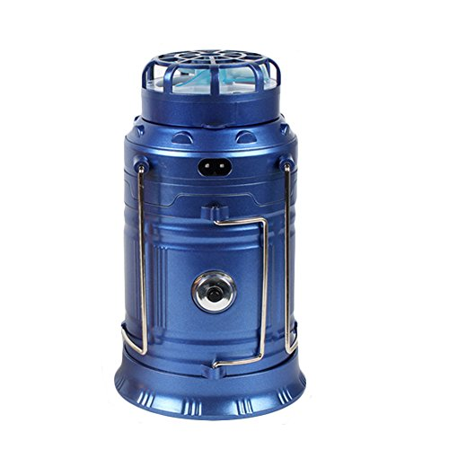 osierr6 Solar Outdoor Collapsible Camping Lantern,Solar Rechargeable Fan Multi-function LED Camping Light,Stainless Steel Table Lamp Flashlight(EU,blue) by osierr6