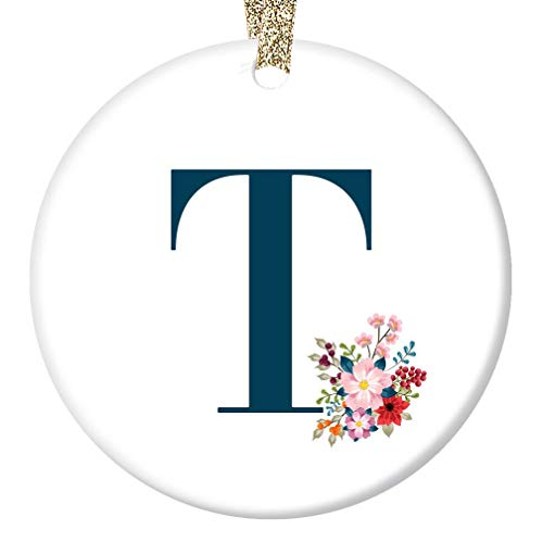 Woman's Name T Initial Ornament First Last Letter