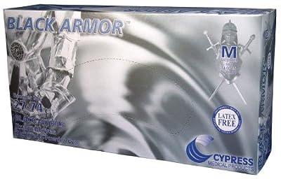 Hand Armor Black Nitrile Examination Gloves, Powder Free, Medium, 100 Gloves Per Box, 10 Boxes Per Case