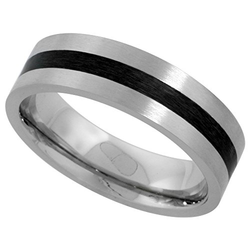 (Surgical Stainless Steel 6mm Wedding Band Ring Black Stripe Inlay Center Matte Finish Comfort-fit, size 6)