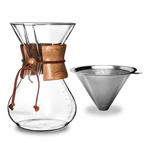 AGOGO Pour-Over Glass Coffeemaker - Woodneck Drip Pot - 304 Stainless Steel Filters - Brush - Cleaning Rags 8 Cup