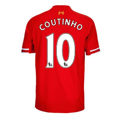 a93dc6b8a Amazon.com   2013-14 Liverpool Home Shirt (Coutinho 10)   Sports ...