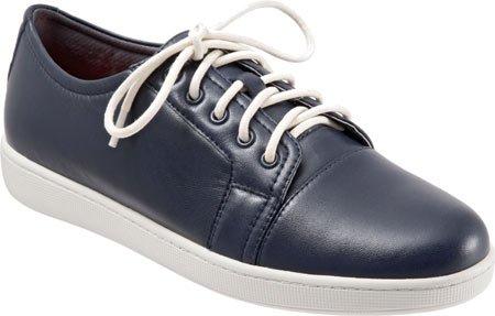 Trotters Women's Arizona Navy Full Grain Nappa Soft Leather Sneaker 6.5 WW (EE)