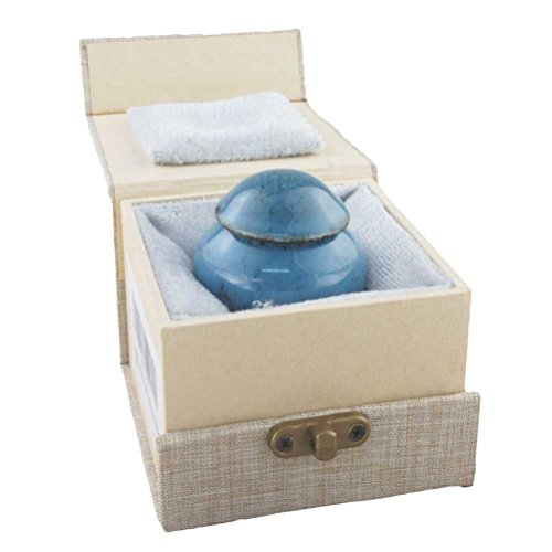 MEILINXU Mini Keepsake Funeral Urn - Ceramics Cremation Urns Human Ashes Adult - Hand Engraved - Fits a Small Amount Cremated Remains - Display Burial Urn at Home Office (Fambe Blue Ocean Baby Urn ()