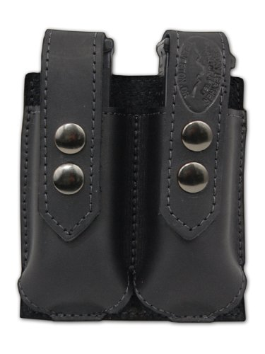 Barsony Black Leather Double Magazine Pouch for Ruger SR9 SR40 (Ruger Sr40 Ammo)