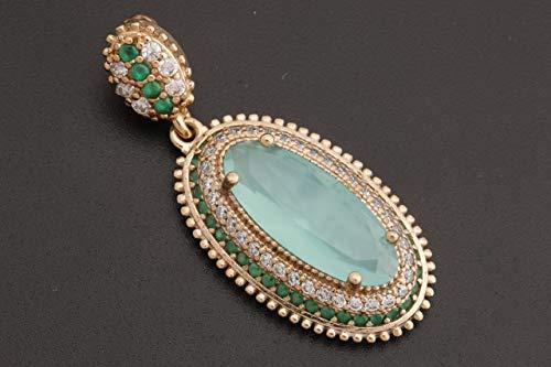 Turkish Handmade Jewelry Long Oval Shape Aquamarine and Round Cut Emerald Topaz 925 Sterling Silver Pendant