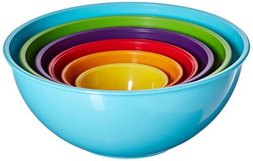 Gourmet Home Products 6 Piece Nested Polypropylene Mixing Bowl Set, Light Blue