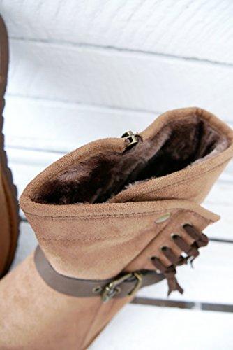 Warm gefütterte Teddy Boots Basic Damen Schuhe Flats Stiefelette Fransen Velourhaptik Reißverschluss (8289) braun camel