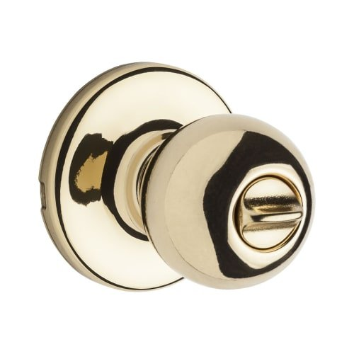 Kwikset Polo Bed/Bath Knob in Polished Brass