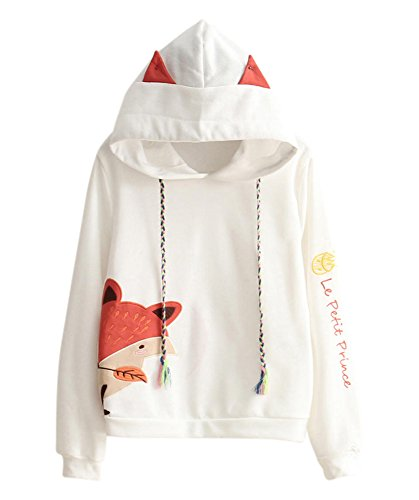 Cosplay Anime Bunny Emo Girls Sweater Hoodie Ears Costume Panda Cat Emo Bear Jacket T Shirt Top Shirt (Fox)