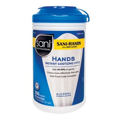 Sani-Hands II Sanitizing Wipes, 7 1/2 x 5 1/2, 300/Canister, Sold as 1 Each by Sani Professional by Sani Professional