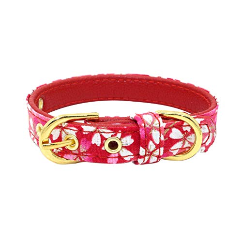 LLtidmsWL Personalized Premium Dog Collar with Metal Clasp Soft Fabric Adjustable Dog Collar Japanese Style Dog Cat Flower Collar Adjustable Buckle Necklace Pet Accessories Red M