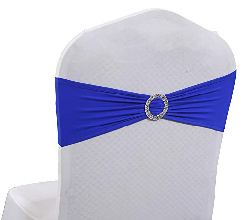 (mds Pack of 200 Pcs Spandex Chair Sashes Bows Elastic Chair Bands Ties with Buckle Slider Bow for Wedding Decoration Lycra Slider Sashes Bow - Royal Blue)