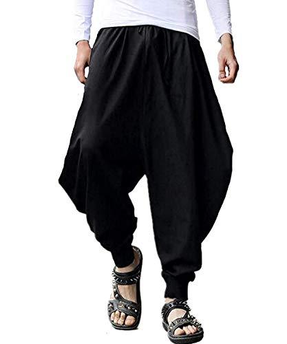 AITFINEISM Men's Casual Baggy Boho Aladdin Hippie Yoga Harem Pants (42-44 inch, Black) -