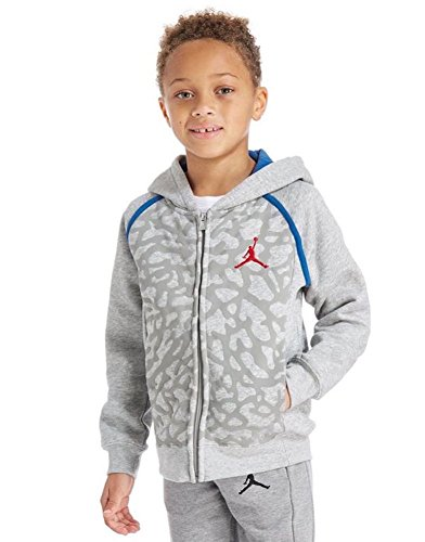 Nike Boy's Air Jordan Retro 3 Fleece Hoodie 953806 042 Size Small Heather Grey Blue Red