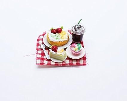 Dollhouse Miniature White Cream Cake Rose Top Food Sweet Deco Bakery 30 mm