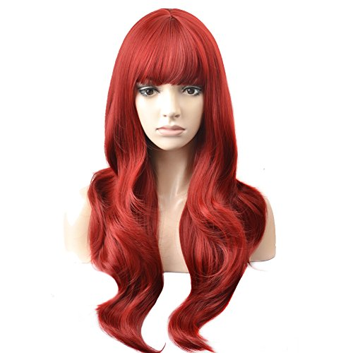 BERON Long Wavy Soft Synthetic Wig with Straight Bangs for Women Girls Wig Cap Included (Wine Red) ()