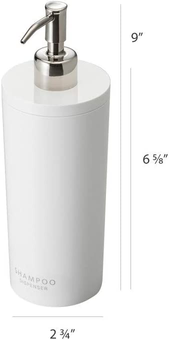 White Yamazaki Tower Shampoo Dispenser Contemporary Bottle Pump for Shower Round