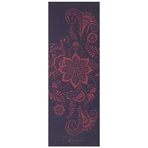 Aubergine Finish - Gaiam Yoga Mat Premium Print Extra Thick Non Slip Exercise & Fitness Mat for All Types of Yoga, Pilates & Floor Exercises, Aubergine Swirl, 6mm