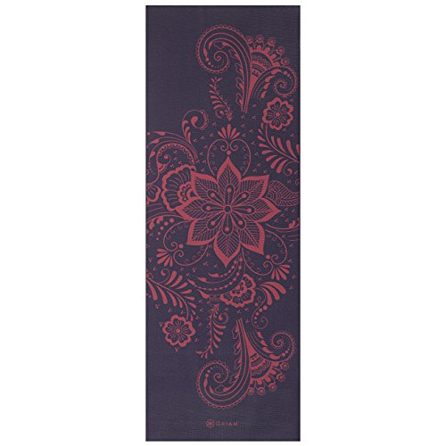 Gaiam Yoga Mat Premium Print Extra Thick Non Slip Exercise & Fitness Mat for All Types of Yoga, Pilates & Floor Exercises, Aubergine Swirl, 6mm