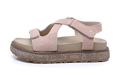 Chaussures 34 42 pink xie femmes pour femmes Student à Casual épaisses pour Cuir Sandales Plus semelles Velcro Chaussures plates size Rome wY1UH