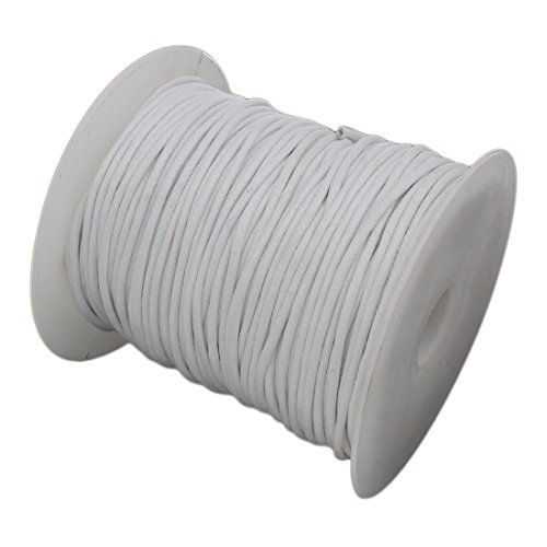 2mm 100Yards Waxed Thread Plastic Spool String Strap Necklace Rope Bead For Jewelry Making and Supplies Cotton Cord (White)