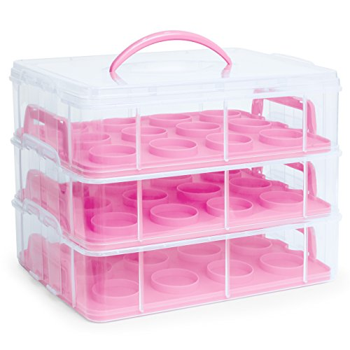 Best Choice Products 3-Tier BPA-Free Cake Cupcake Baked Goods Holder Storage Carrier Container for 36 Cupcakes w/Detachable Tiers, Locks, Handle - Pink