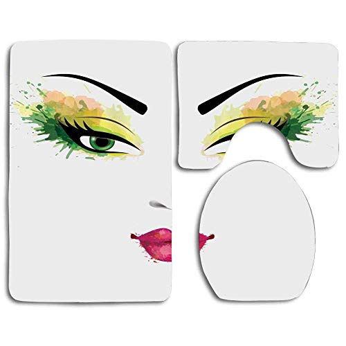 deer sky Grunge Face with Makeup Elements Color Splash Eyes and Lips Watercolor Skidproof Toilet Seat Cover Bath Mat Lid Cover 3 Piece Non Slip Bath Rug Mats Sets ()