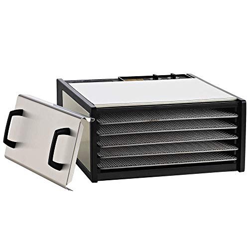 Excalibur D500SHD 5-Tray Electric Food Dehydrator with Clear Door for Viewing Progress Features 26-Hour Timer Temperature Settings and Automatic Shut Off Made in USA, 5-Tray, Silver (Legacy Square)