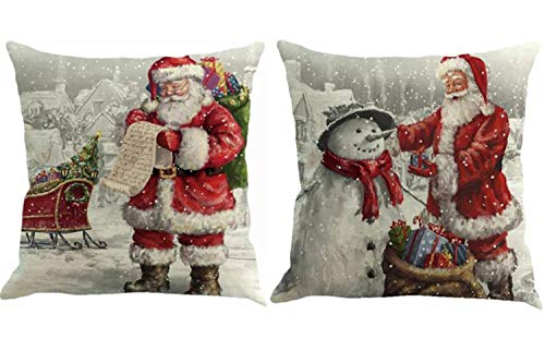 FOOZOUP Merry Christmas Throw Pillowcase Santa Claus Home Decor Cushion Cover for Sofa Couch (Set of 2) (Merry Pillow Christmas)
