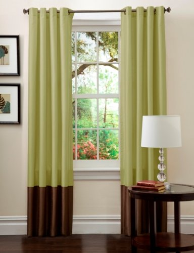 Lush Decor Prima Window Curtain Panel Pair, 84 inch x 54 inch, Green/Chocolate, Set of 2