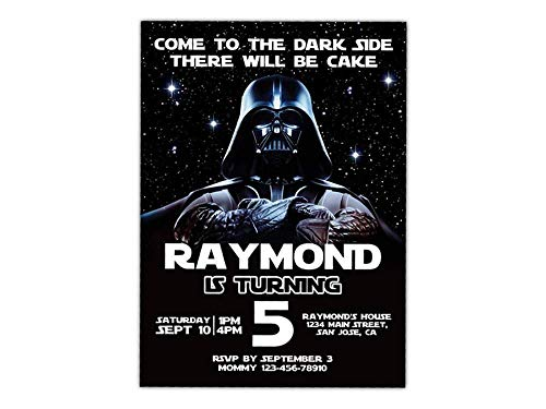 Custom Star Wars Darth Vader Birthday Party Invitations for Kids, 10pc-100pc 4