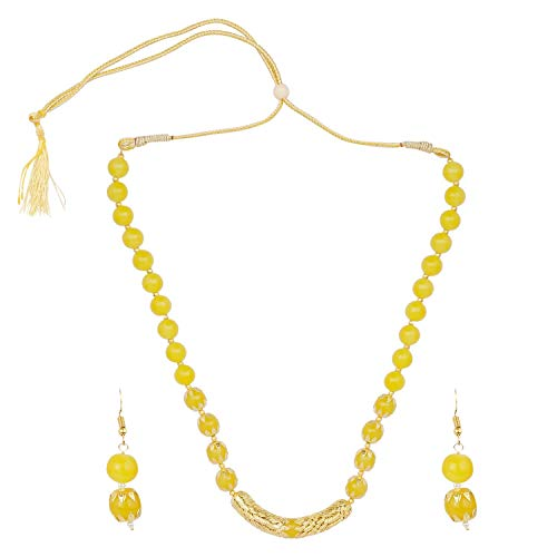 Beaded Yellow Jewelry Set (Efulgenz Boho Indian Bollywood Antique Gold Plated Faux Pearl Beaded Bridal Wedding Strand Yellow Statement Necklace Earrings Jewelry Set)