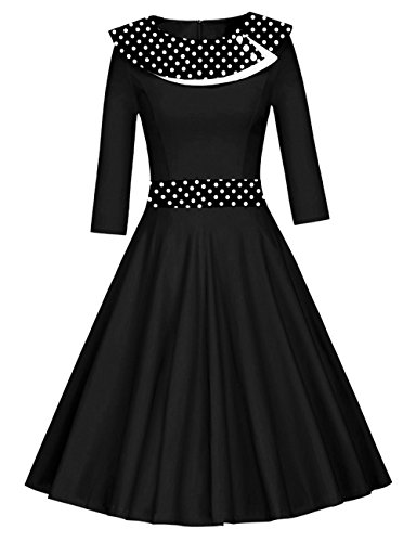Là larga lunares noche para vintage años mujer plisado 50 falda Negro Vestido Vestmon cóctel manga vestidos Swing de Rockabilly retro vestido rxwHrXTq