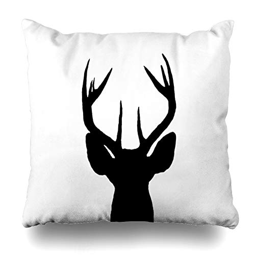 (Ahawoso Throw Pillow Cover Ears Buck White Tail Deer Head Clip Stag Whitetail Rack Antlers Hunting Design Herbivore Home Decor Cushion Case Square Size 20