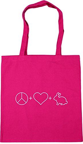 HippoWarehouse Peace, Love and Rabbits Tote Shopping Gym Beach Bag 42cm x38cm, 10 litres Fuchsia