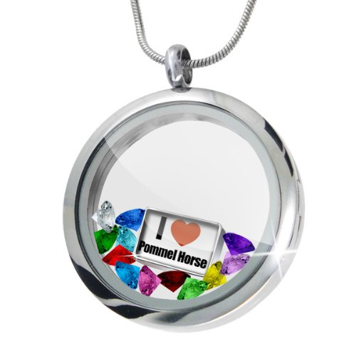 Floating Locket Set I Love Pommel Horse + 12 Crystals + Charm, Neonblond