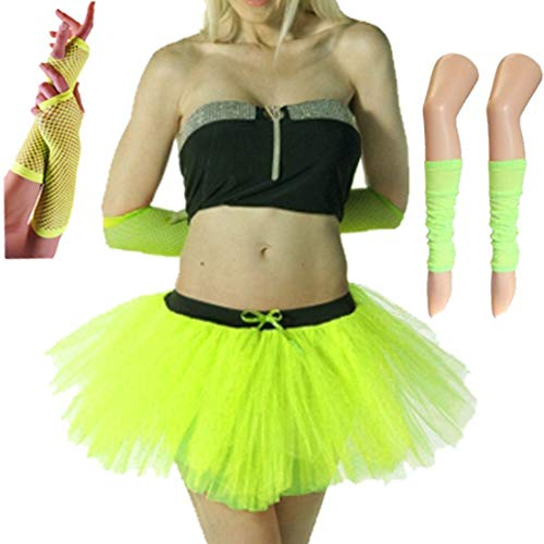 Rimi Hanger Women 80s Fancy Dress Neon 3 Layer Tutu Skirt Set Leg Warmers Fishnet Gloves Set Yellow One Size]()