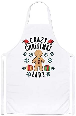 Crazy Christmas Lady Snowflakes Chefs Apron