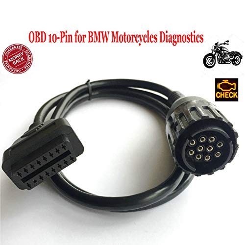 OTKEFDI 10-Pin OBD Adapter, 10pin OBD Adapter for BMW Motorcycles Motorbikes-OK for K-line and DCAN Interface