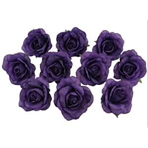 10 Purple Rose Heads Silk Flower Wedding/Reception Table Decorations (Large) 1
