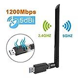 USB WiFi Adapter – Maxesla 1200M WiFi Dongle High Speed 802.11ac 5dBi Dual