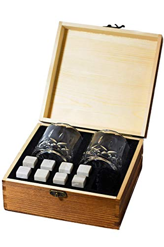 - Silver Mountain Whiskey Stones Gift Set - 2 Crystal Glasses + 8 Whiskey Stones WHITE STONES (NOT GREY!) + Velvet Bag in Elegant Wooden Box - Perfect Gift for Birthday, Mother's Day, Father's Day